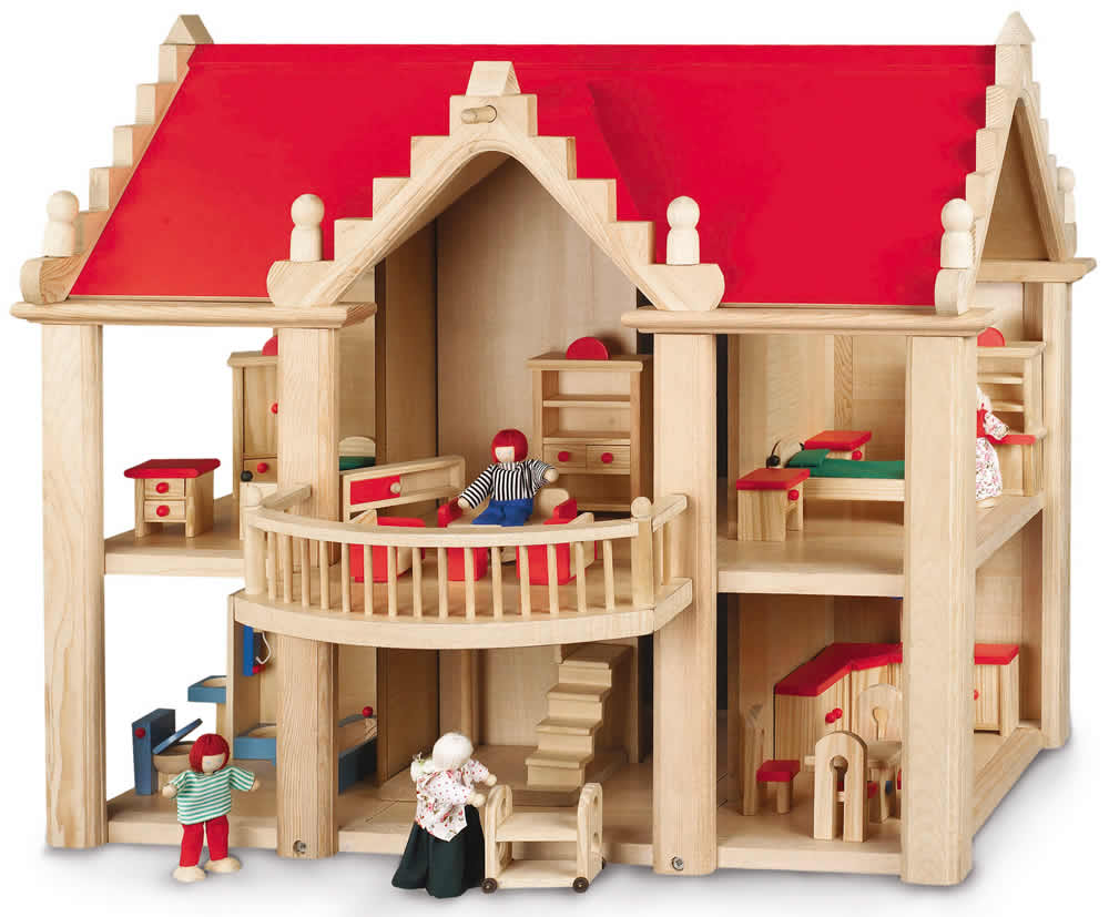 chic 2000 bayer kinder holz puppenhaus puppenstube villa m biliert ebay. Black Bedroom Furniture Sets. Home Design Ideas