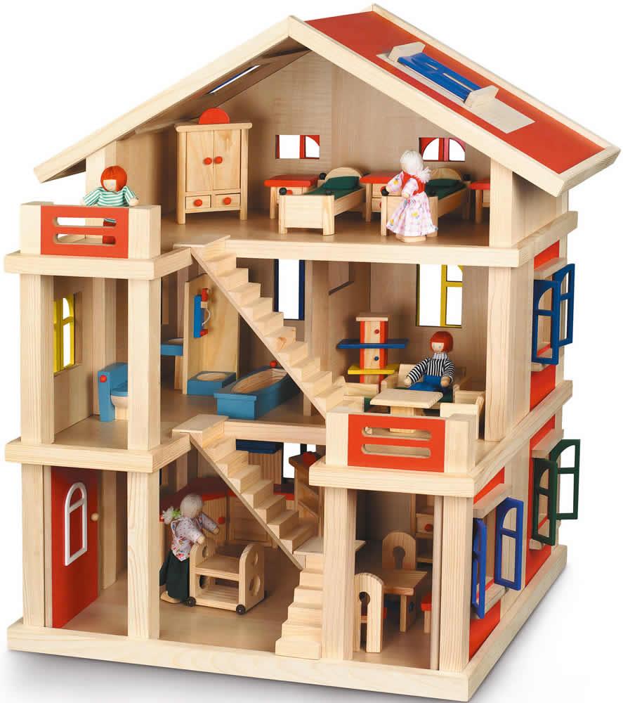 holz puppenhaus fur playmobil. Black Bedroom Furniture Sets. Home Design Ideas