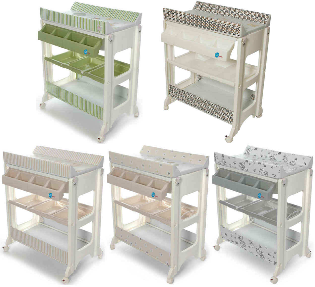 bade wickel kombination wickeltisch babywanne fahrbar ebay. Black Bedroom Furniture Sets. Home Design Ideas