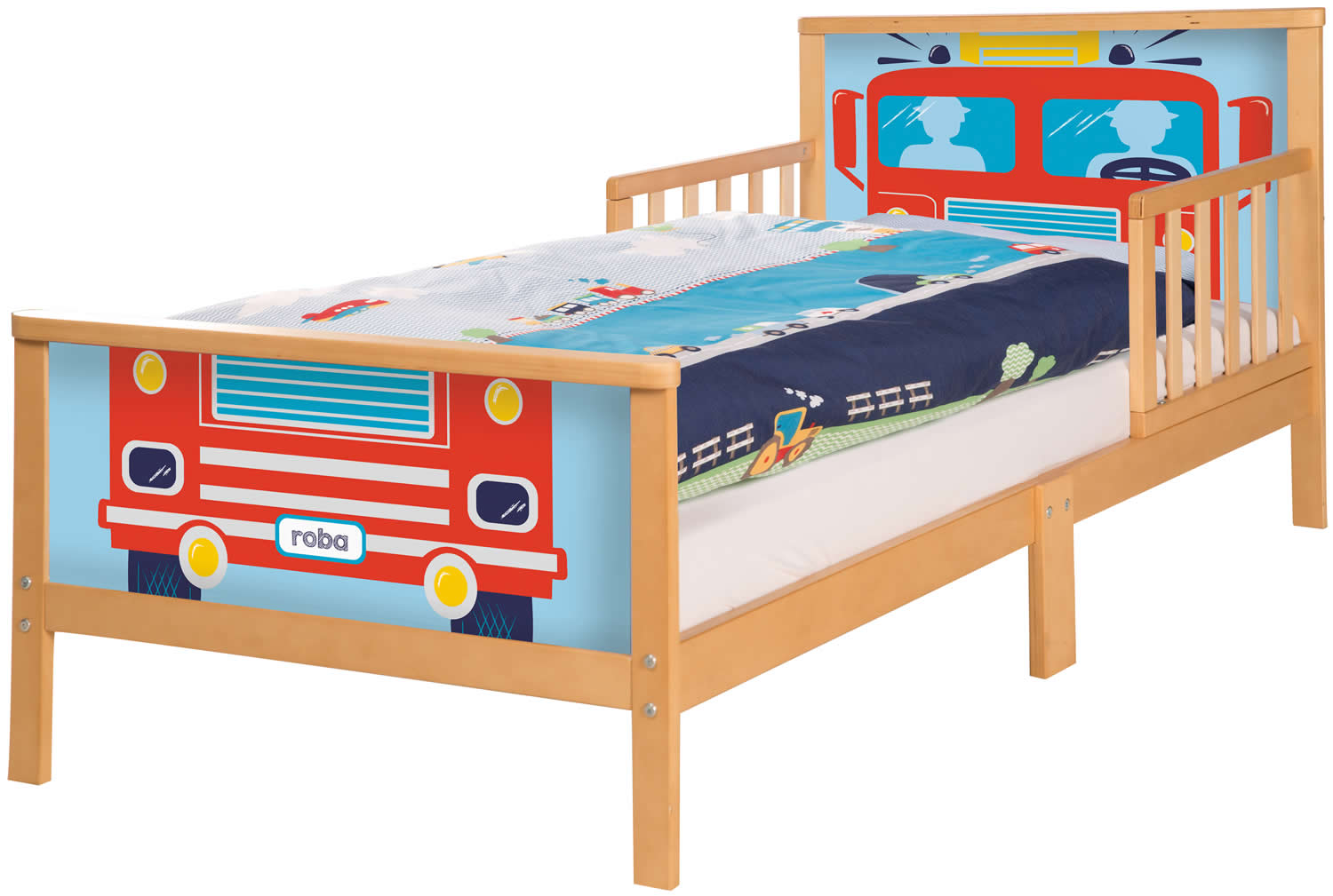 roba toddler bett kinderbett juniorbett rausfallschutz 70x140 cm holz. Black Bedroom Furniture Sets. Home Design Ideas