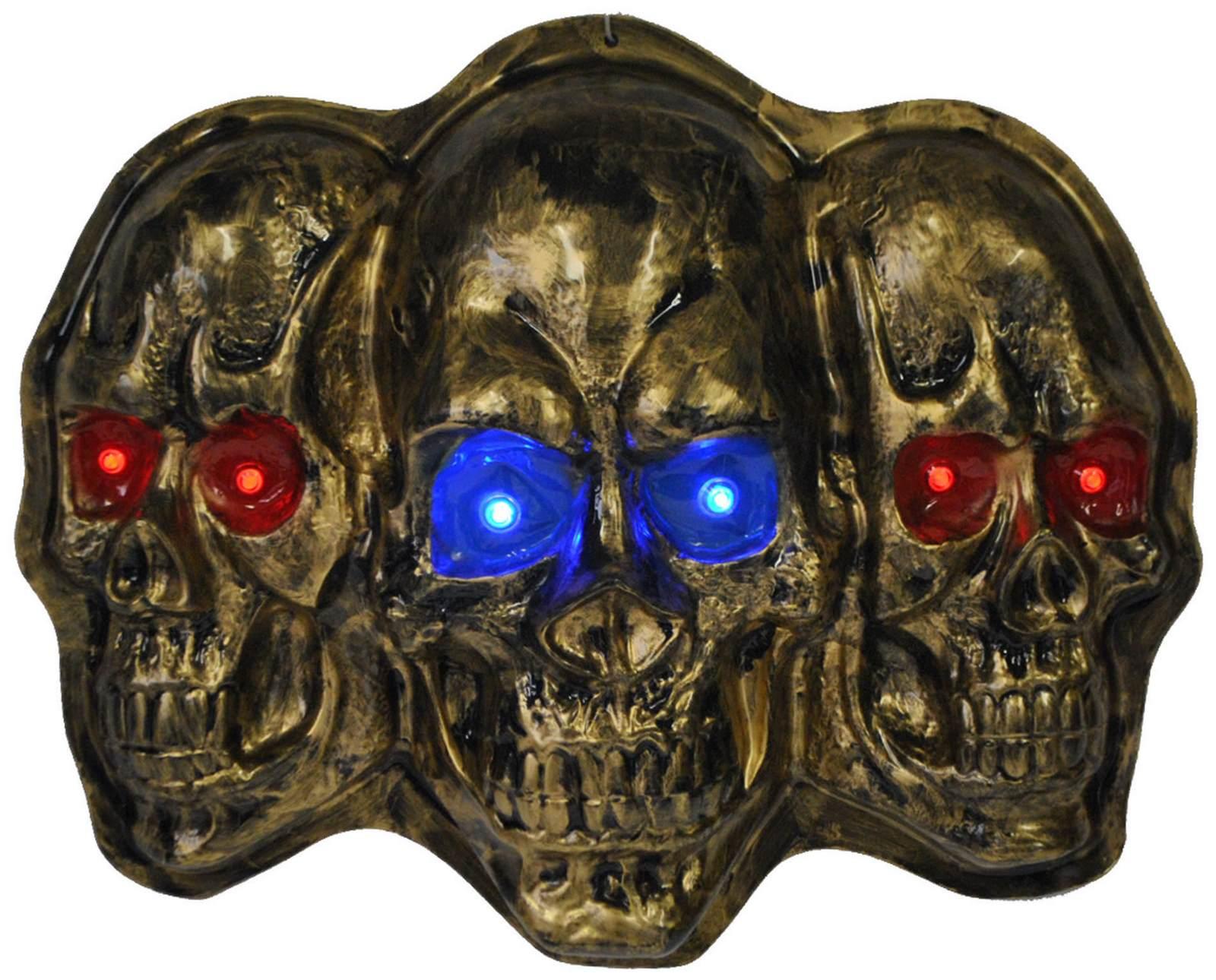 Totenkopf mit Kapuze und grünen LED Augen Toten Kopf Schädel Totenschädel 45 cm