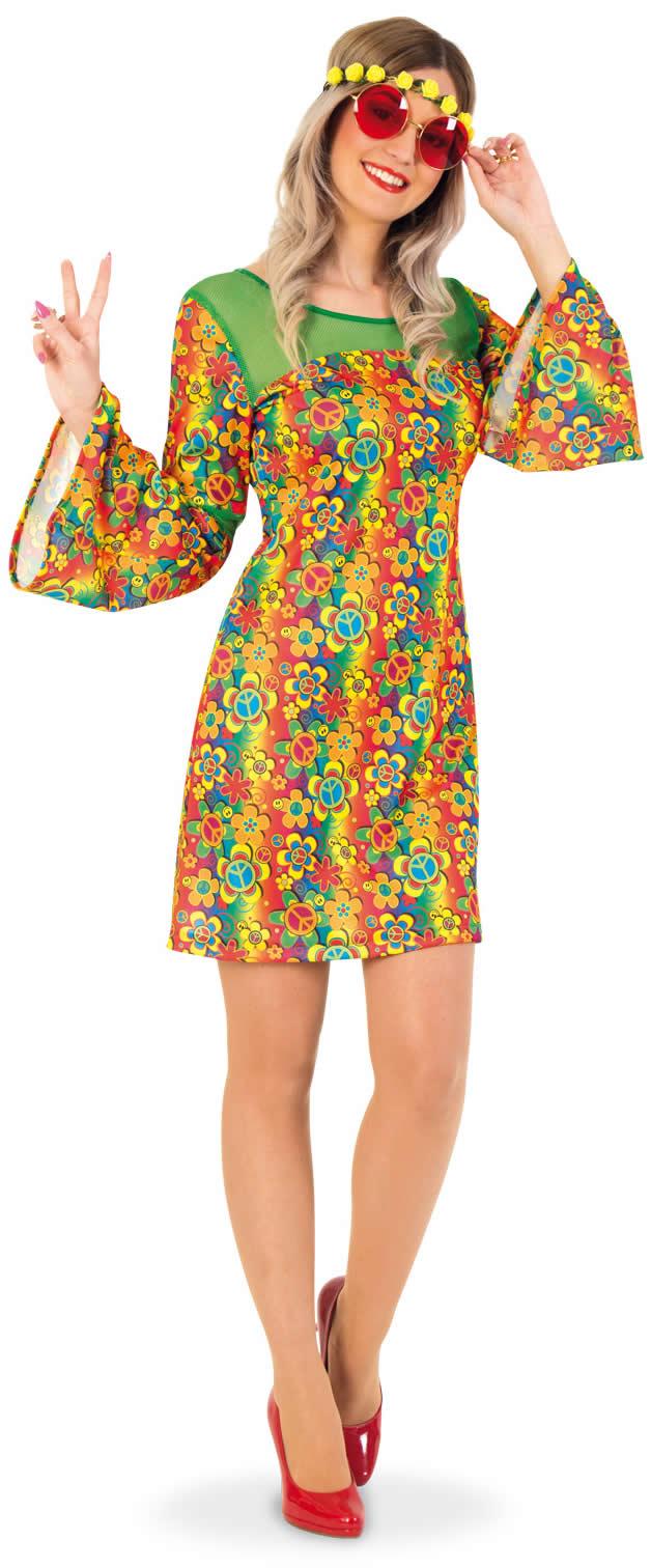 2c614c26a9904 Hippie Summer Flower Power 70er Jahre Peace Karneval Fasching Kostüm 38-44