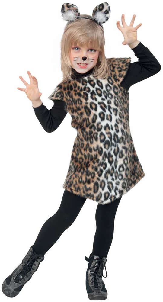 katze k tzchen leopard kleid kinder karneval fasching kost m 98 128 ebay. Black Bedroom Furniture Sets. Home Design Ideas