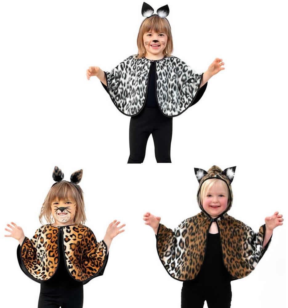 Cape Katze Leopard Leo Tiger Kinder Karneval Fasching Kostum 98 116