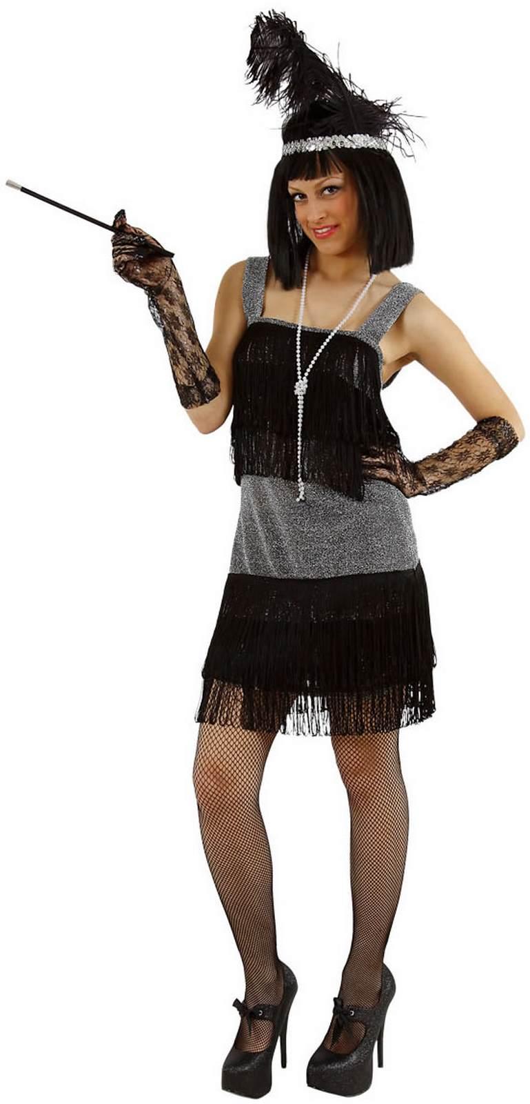 Details zu Charleston 15er Jahre Kleid Flapper schwarz Karneval Fasching  Kostüm 15-15