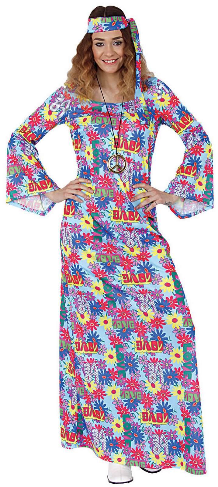 Hippie Flower Power 70er Jahre Kleid Lang Karneval Fasching Kostum 36 54 Ebay