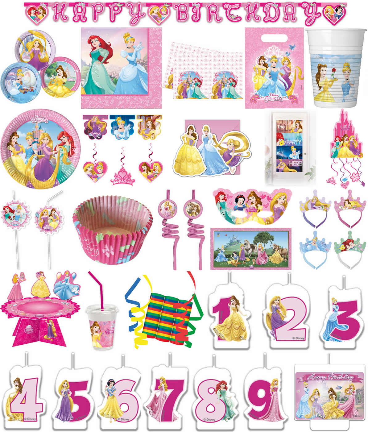 Kinder Geburtstag Party Deko Feier Fete Motto Disney Prinzessin Team
