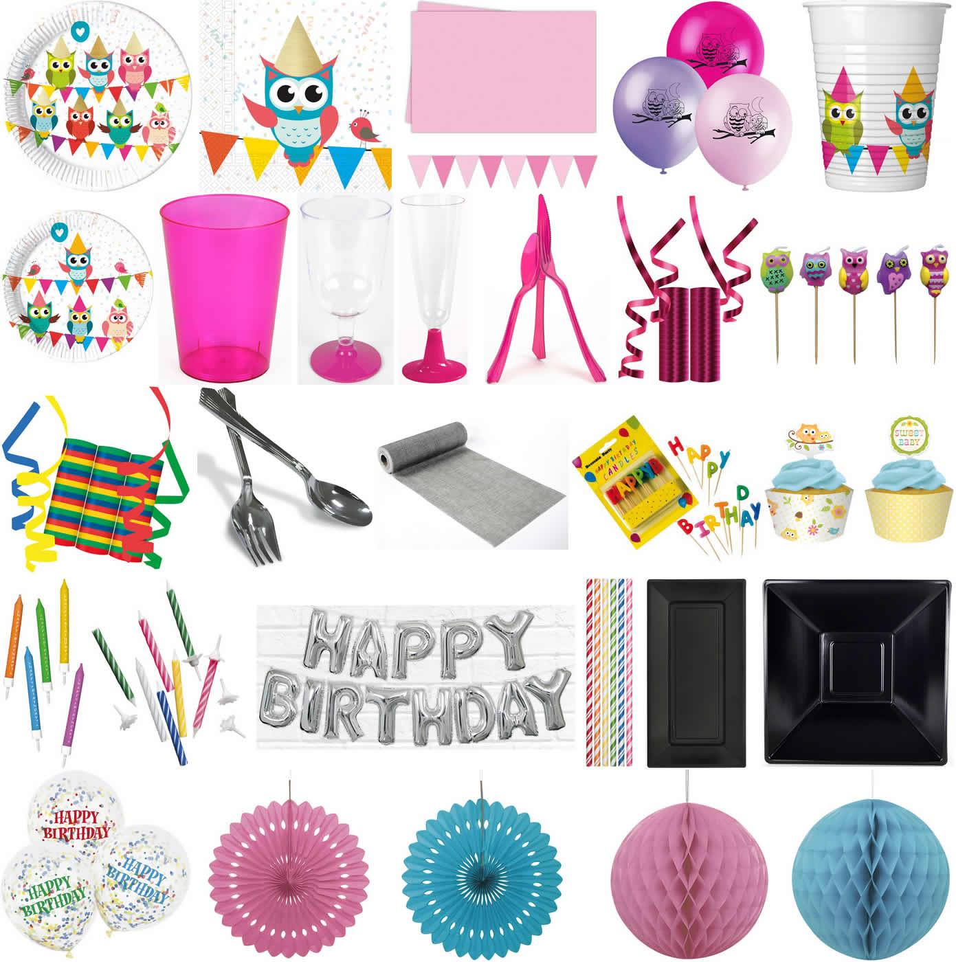 Eulen Geburtstag Party Set Teller Becher Servietten für 8 Kinder EULE 36 tlg