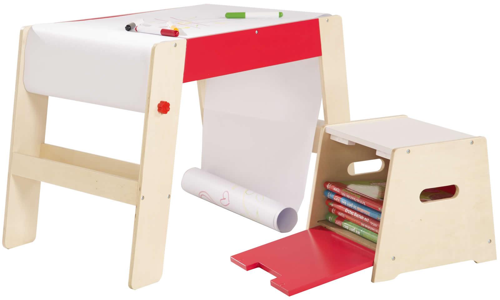 Roba Maltisch Mit Hocker Kindermaltisch Tisch Papierrolle Holz