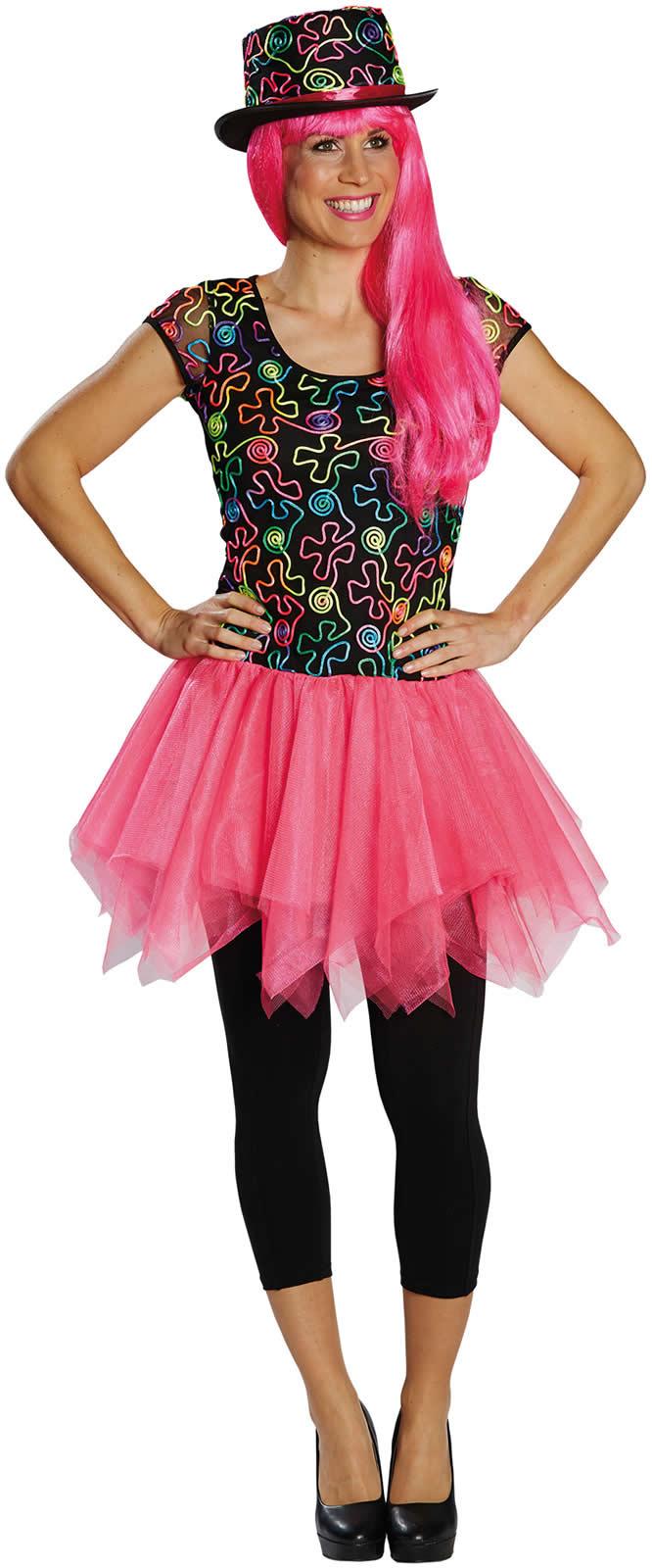 Freaky Dress Kleid Neon Karneval Fasching Kostum 32 44 Ebay